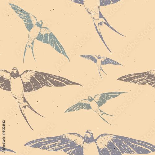 recznie-rysowane-z-piora-atramentu-wzor-z-kolorowe-jaskolki-na-bezowym-tle-latajace-ptaki-na-niebie-idealne-do-tkanin-i-tkanin-lub-papieru-modne-i-modne-tlo