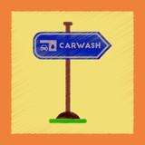 flat shading style icon car wash sign