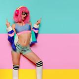 Girl sex DJ. Playful style. Minimal pop art Nightclubs party - 144329643