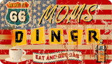 grungy retro route 66 Diner and gas station sign, vector illustration - 144336402