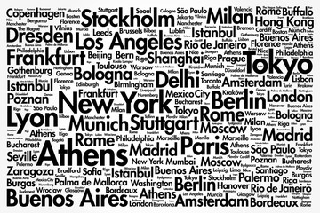 Cities of the world, travel destinations word cloud concept, business background