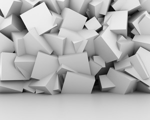 Abstract white cubes wall interior background.