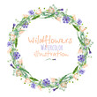 Leinwanddruck Bild - Wreath, circle frame border with wildflowers, eustoma and cornflowers, hand drawn in watercolor on a white background