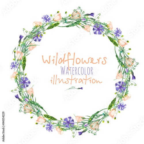 Leinwanddruck Bild Wreath, circle frame border with wildflowers, eustoma and cornflowers, hand drawn in watercolor on a white background