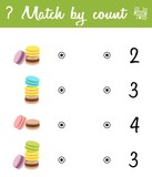 Counting Game for Preschool Children. Count the macaroons in the picture and choose the right answer