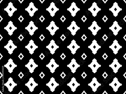 Monochrome seamless pattern, black & white geometric texture with simple figures, rhombuses. Abstract vector endless background, repeat tiles. Dark luxury design for prints, decor, textile, furniture