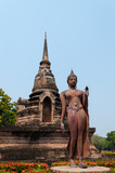 buddha statue and ancient ruin in sukhothai