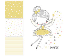 Little Fairy Surface Design And 3 Seamless Patterns Sticker
