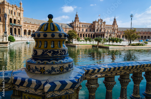An openwork ceramic fence of the Plaza of Spain, (Plaza de España), Seville, Andalusia, Spain