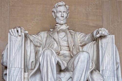 Abraham Lincoln statue at Washington DC Memorial detail плакат