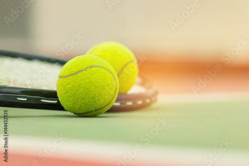Aluminium Tennis Tennis Ball with Racket on the racket in tennis court