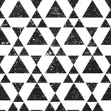 Black geometric triangle background. Abstract seamless pattern grunge textured. - 144438273