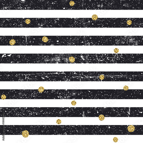 Materiał do szycia Black textured lines and chaotic golden dots seamless pattern. Vintage retro pattern. Abstract vector background