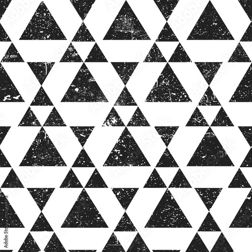 obraz lub plakat Black geometric triangle background. Abstract seamless pattern grunge textured.