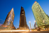 Night view of Potsdamer Platz buildings in Berlin, Germany