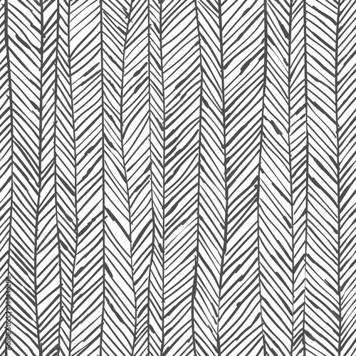 Fototapeta Abstract herringbone background. Seamless pattern. Wallpaper in black and white colors. Vector illustration can be used for fashion textile, wrapping paper, fabric prints.