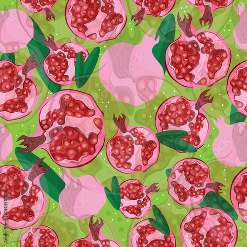Seamless pattern with hand-drawn fresh pomegranate and leaves on green background. For card, wrapping, banners. - 144451010
