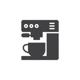 Coffee machine icon vector, filled flat sign, solid pictogram isolated on white. Symbol, logo illustration. Pixel perfect