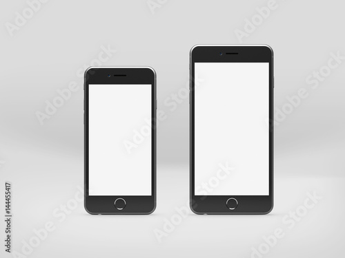 Realistic phone style mockup isolated on light grey background, 3D hight detailed illustration.