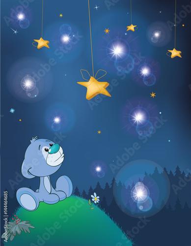 Papiers peints Chambre bébé The Adventures of Little Bear. Fantastic Night