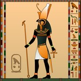 Religion of Ancient Egypt. Horus is the god of heaven, of royalty, the patron of the pharaohs. Ancient Egyptian god Horus in the guise of a man with a falcon head. Vector illustration.