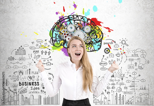Happy woman, brain and cogs Poster