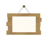 Wood plank banner Isolated on white background.