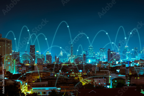 Wall mural abstract line connection on night city background