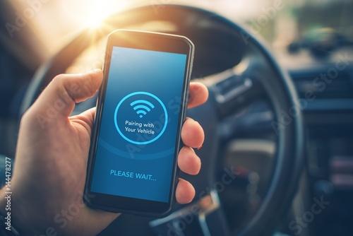 Fototapeta Pairing Smartphone with Car