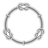 Twisted rope circle - round frame with knots - 144483651
