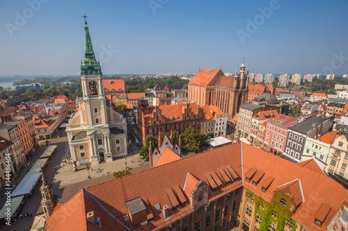 Fototapeta Torun,Poland-September 11,2016:Torun panorama seen from tower of the Old Town Hall
