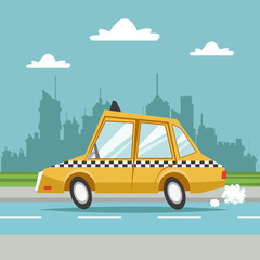 taxi cab car city background vector illustration eps 10