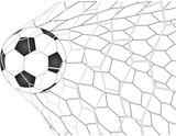 Soccer Football in Goal Net line sketched up Vector Illustrator, EPS 10. - 144499046