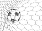 Soccer Football in Goal Net line sketched up Vector Illustrator, EPS 10. - 144499063