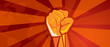 Постер, плакат: hand fist revolution symbol of resistance fight aggressive retro communism propaganda poster style in red with world map background