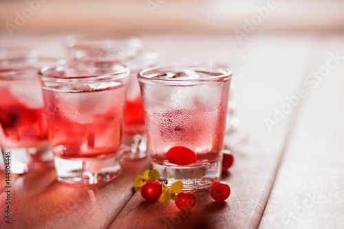 Shot with natural cranberry and vodka