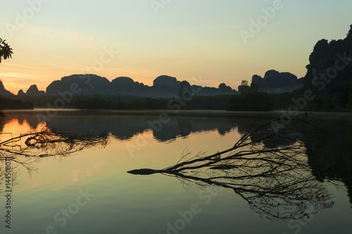 beautiful landscape nature view in morning sunrise.