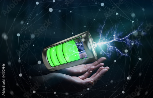 Man holding 3D render battery with lightning in his hand - 144509846