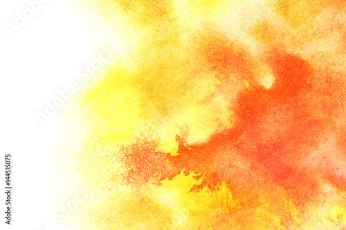 Yellow red watercolor background - 144515075