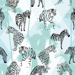 Patchwork tropical black color animals seamless background