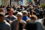 Crowd of people walking street in city - 144525059