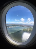 View of Bali through airplane window