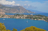 The magnificent scenery of Nice bays, mountains, blue sea and sky