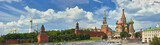 Fototapety Panoramic view on Moscow Red Square, Kremlin towers, stars and Clock Kuranti, Saint Basil's Cathedral church Ivan bell tower. Panorama from hotel Russia. Moscow holidays vacation tours Putin residence