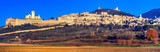 Panorama of medieval town Assisi - religious center of Umbria, Italy