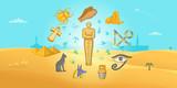 Egypt travel horizontal banner, cartoon style
