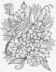 coloring page with big grasshopper