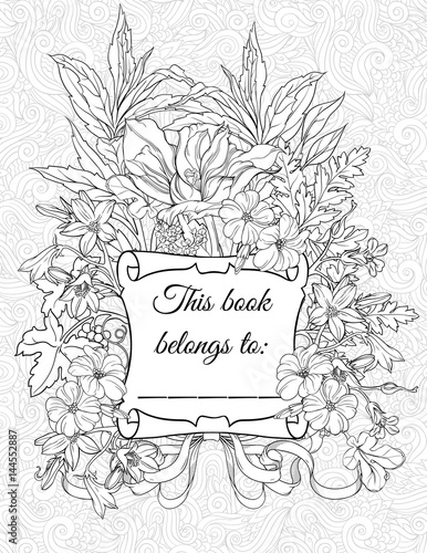 coloring page with place for owner's name