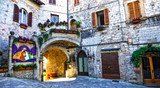 Medieval town Assisi - charming old streets. Italy