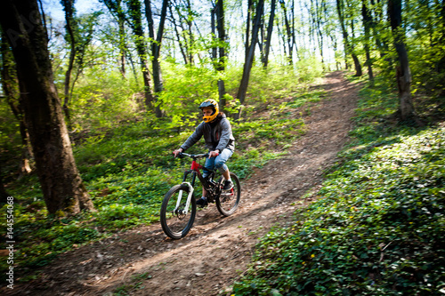 Poster man ride mountain bike through forest